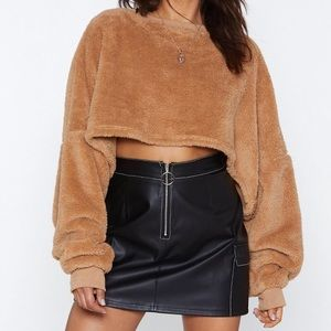 Nasty Gal Cropped Faux Fur Sweater